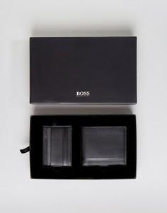Черные бумажник и кредитница из коровьей кожи в подарочном наборе BOSS by Hugo Boss - Черный