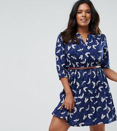 Платье с поясом и рукавами 3/4 Yumi Plus - Темно-синий