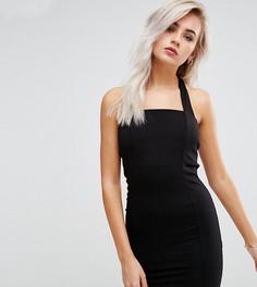 Облегающее платье мини с лямкой через шею ASOS PETITE - Черный