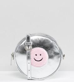 Эксклюзивная серебристая сумка через плечо круглой формы Lazy Oaf - Серебряный