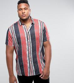 Вискозная рубашка классического кроя в полоску с принтом ASOS PLUS - Темно-синий