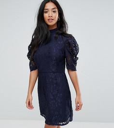 Кружевное платье с высоким воротом Fashion Union Petite - Темно-синий