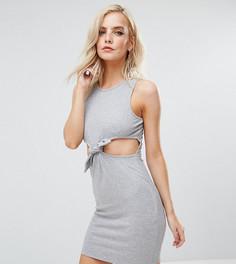 Облегающее платье мини в рубчик с вырезами и завязкой на талии ASOS PETITE - Серый