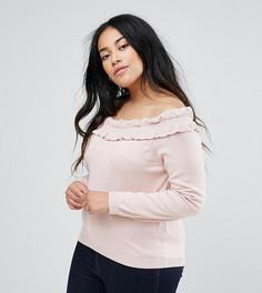 Джемпер с открытыми плечами и оборкой ASOS CURVE - Розовый