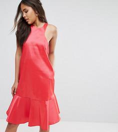 Платье миди с американской проймой и баской Y.A.S Studio Tall - Розовый