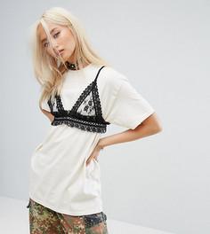 Фестивальная оверсайз-футболка с кружевным бралеттом Milk It Vintage - Кремовый