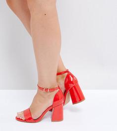 Босоножки для широкой стопы на каблуке ASOS HEARTACHE - Красный