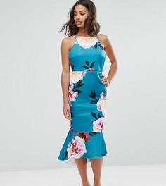 Платье миди с цветочныи принтом ASOS PETITE - Мульти