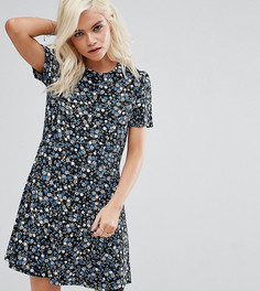 Чайное платье мини с цветочным принтом ASOS PETITE - Черный