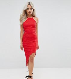 Платье-халтер с асимметричным краем City Goddess Petite - Красный