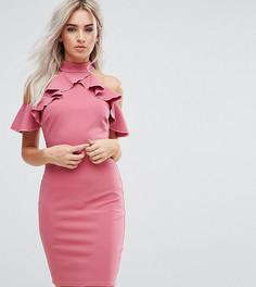 Платье-футляр с оборкой City Goddess Petite - Розовый