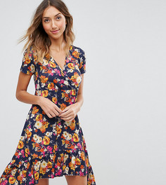 Чайное платье с цветочным принтом и оборками ASOS TALL - Мульти
