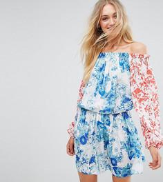 Платье мини с открытыми плечами, расклешенными рукавами и цветочным принтом White Cove Tall - Мульти