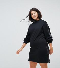 84824239078 Трикотажное платье оверсайз с молниями ASOS CURVE - Черный