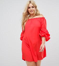 Платье с широким вырезом и оборками на рукавах AX Paris Plus - Красный