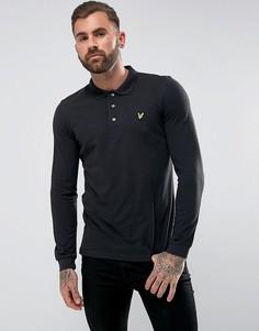 Черная футболка-поло с длинными рукавами и логотипом Lyle & Scott - Черный
