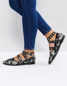 Туфли на плоской подошве с цветочным принтом и пряжками Sol Sana Miro - Мульти