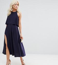 Платье миди с кроп-топом и высоким разрезом ASOS PETITE - Темно-синий