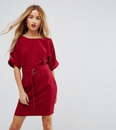 Тканое платье мини с поясом с D-образным кольцом ASOS PETITE - Розовый