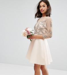 Приталенное платье мини для выпускного с декоративной отделкой Maya Petite - Розовый