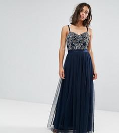 Платье макси с бантом Maya Petite - Темно-синий