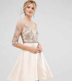 Короткое приталенное платье для выпускного с отделкой Maya Tall - Розовый