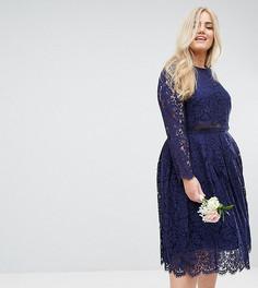 Кружевное платье миди для выпускного с длинными рукавами ASOS CURVE WEDDING  - Темно-синий eac9100907f