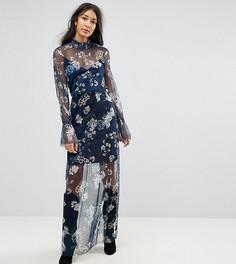 Сетчатое платье макси с принтом и присборенным вырезом ASOS TALL - Мульти