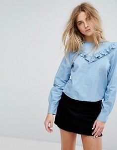 Рубашка с оборкой Only - Синий