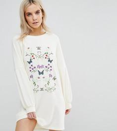 Платье-футболка с вышивкой Vero Moda Petite - Белый