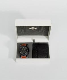 Светло-коричневый подарочный набор с кожаным бумажником и часами Fossil FS5335SET - Рыжий