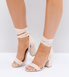 Босоножки на каблуке для широкой стопы с завязками ASOS HOWLING - Бежевый