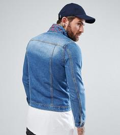Джинсовая куртка со скрытой вышивкой на воротнике Liquor N Poker - Синий