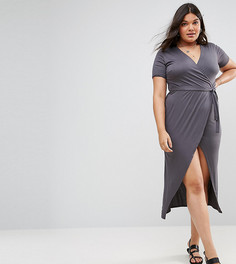 Платье макси с короткими рукавами, запахом и разрезом Club L Plus - Серый