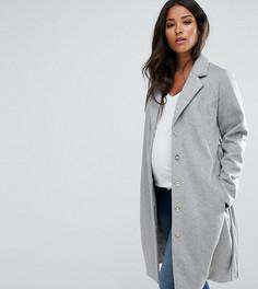 Пальто из ткани с добавлением шерсти Mamalicious - Серый Mama.Licious