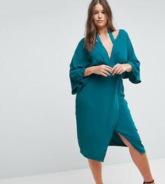 Платье миди с широкими рукавами ASOS CURVE - Зеленый