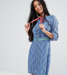 Кружевное платье мини с отделкой в спортивном стиле Sister Jane Petite - Синий