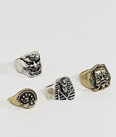 Набор металлических массивных колец с оверсайз-масками ASOS - Серебряный