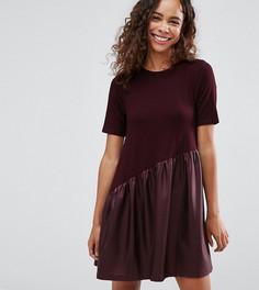 Свободное платье мини с асимметричной вставкой ASOS PETITE - Красный