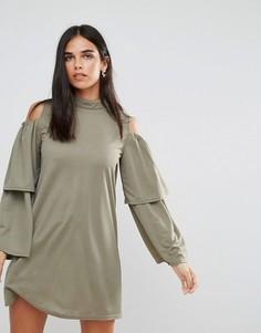Платье с оборками на рукавах AX Paris - Зеленый