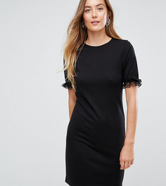 Платье-футболка из ткани понте с кружевными оборками на рукавах ASOS TALL - Черный