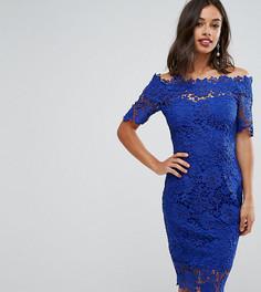 Платье миди с кружевом и широким вырезом Paper Dolls Petite - Синий