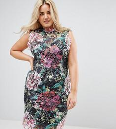 Платье-футляр из кроше с высоким воротом и цветочным принтом Paper Dolls Plus - Мульти