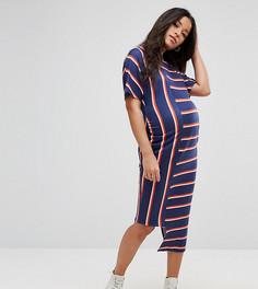 Облегающее асимметричное платье миди в полоску ASOS Maternity - Мульти