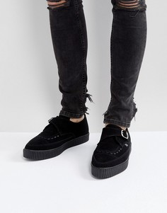 Криперы из веган-замши с острым носком и пряжками T.U.K - Черный
