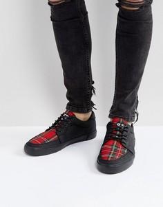 Парусиновые кроссовки с принтом тартан T.U.K - Черный