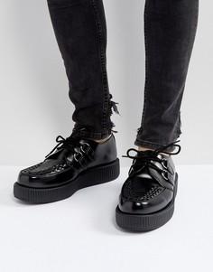 Блестящие криперы на платформе со шнуровкой T.U.K - Черный