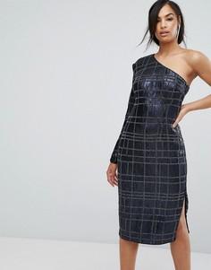 Платье-футляр с одним рукавом и сплошной отделкой Misha Collection - Темно-синий