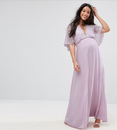 Платье макси с расклешенными рукавами Queen Bee - Фиолетовый