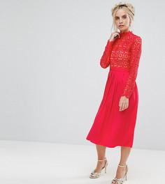Премиум-платье миди с кружевным топом и плиссированной юбкой Little Mistress Petite - Красный